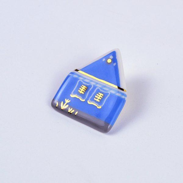 Casa albastră din Alţâna pictată manual, detalii aur. 4x4cm. Campania #FondAlbastru a Asociației Momentum prin Albastru.ro - ceramica Gruni