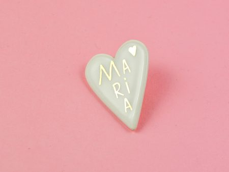 Broșă inimă personalizabilă manual cu aur, cadoul perfect, unic, personal, ceramica Gruni. 4 x 5 cm. Pin alamă. Pentru haine groase.