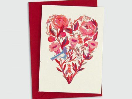 Felicitare inimă din flori de Ziua Îndrăgostiților, 8 Martie, ilustrație originală Livia Coloji. Print profesional, C6, plic roșu inclus