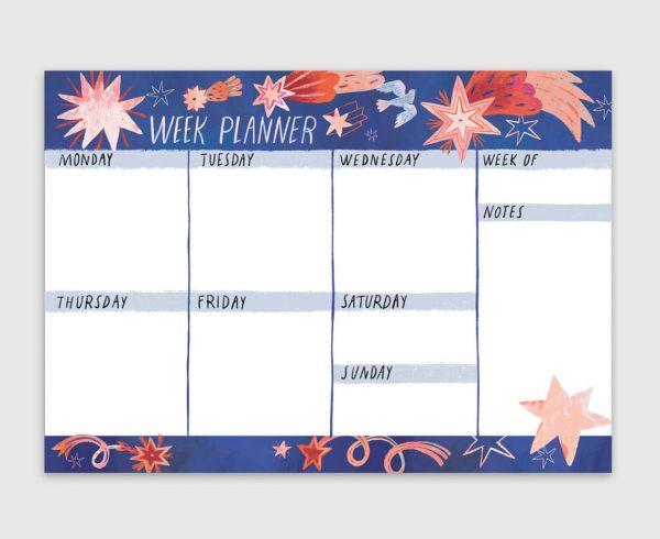 Planner săptămânal A4, cu stele. 50 p. Cadou pentru colegii de lucru