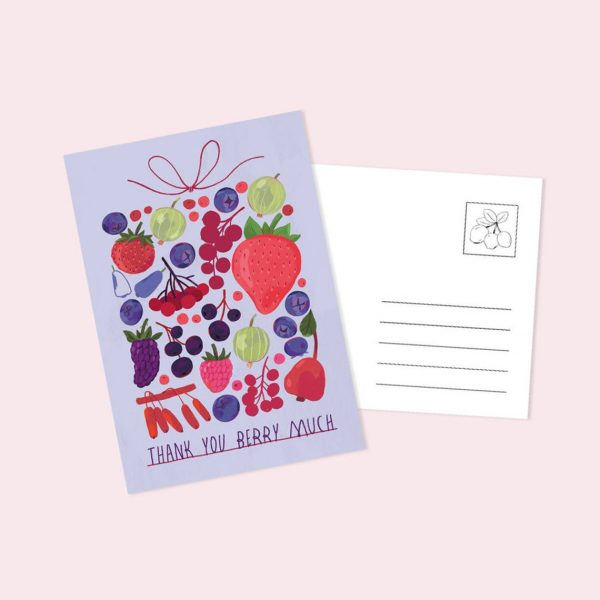 Carte poștală Thank You Berry Much, mărime C6, tipar pe carton lucios pe față. Ilustrație realizată de Livia Coloji. Se poate adăuga unui cadou.