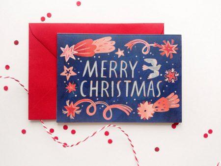 Felicitare Merry Christmas format C6 cu plic roșu inclus. Decorată cu o ilustrație originală de Livia Coloji.