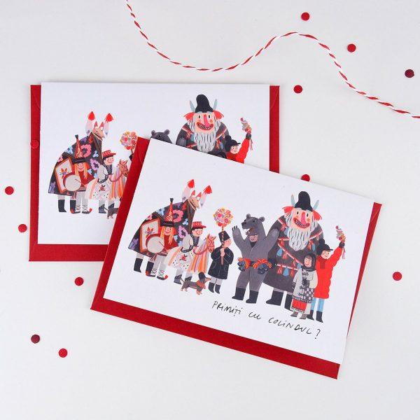 Felicitare Primiți cu colindul?, format C6 cu plic roșu inclus. Decorată cu o ilustrație originală de Livia Coloji. Print profesional pe hârtie reciclată