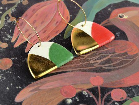 Cercei jumi-juma / roșu și verde / EDIȚIE LIMITATĂ de Crăciun. Ceramică pictată manual pe ambele părți. 3 x 4,5 cm. Design Gruni