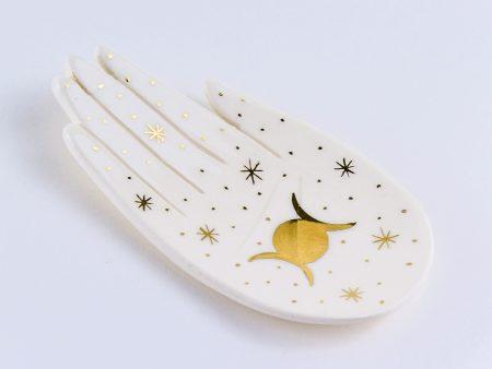 Farfurioară ceramică pentru bijuterii Triple Moon decorată cu aur. Potrivită pentru obiecte mici, chei și bijuterii. Dimensiune 15x10 cm.