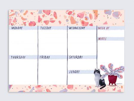 Planner săptămânal A4 Terrazzo, cu pisică și ghiveci cu flori. 50 p. Tipar hârtie subțire. Lipit caiet în partea inferioară. Ilustrație originală