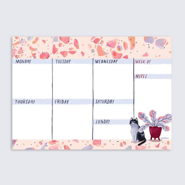 Organizator săptămânal A4 cu model terazzo, cu pisică și ghiveci cu flori. 50 p. Tipar hârtie subțire. Lipit caiet în partea inferioară. Ilustrație originală