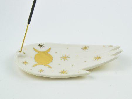 Suport pentru bețigaș parfumat Triple Moon, desen cu aur pe ceramică. Dimensiuni 10x 15 cm. Design de autor, manufactură Gruni